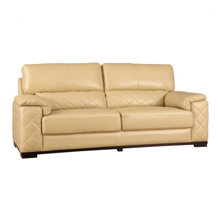 Tuscany Half Leather Three Seater Sofa Butterscotch,Three Seater Sofas