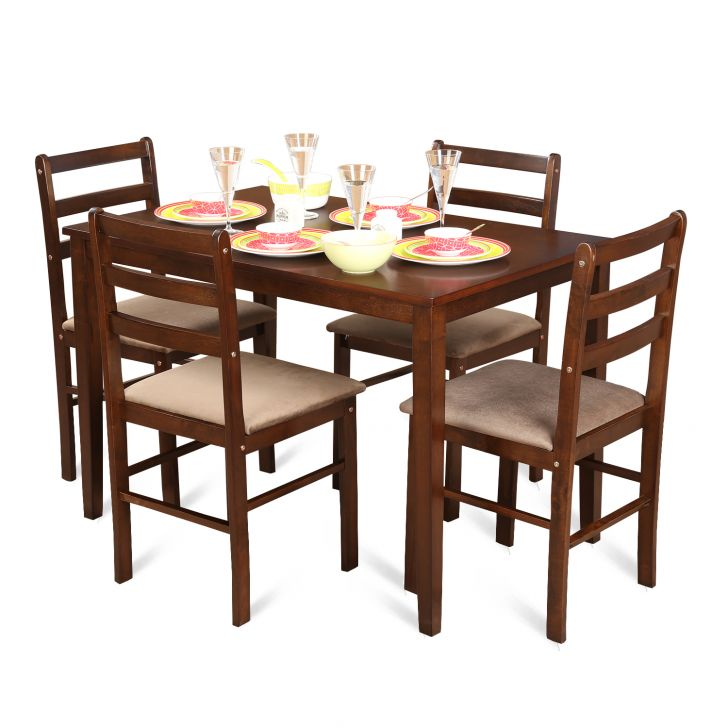 Magix Four Seater Dining Set in Dark Walnut Finish,All Dining Sets