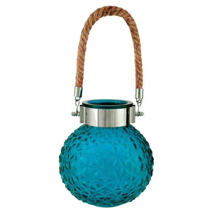 Buy Marvela Colored Glass Vase With Rope Blue Online In India