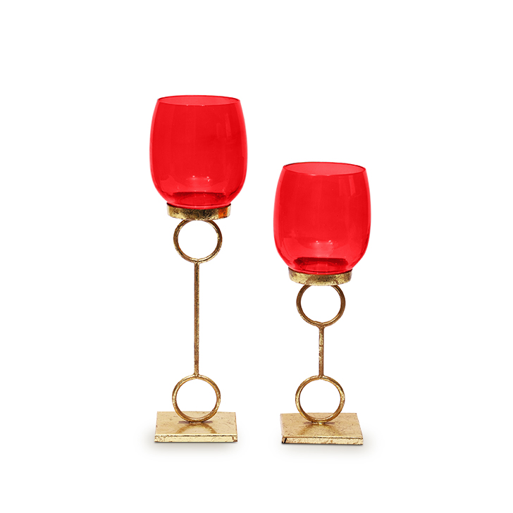 HomeTown Bling Single Tealight Candle Holder Red And Gold 2 Pcs,Candle Holders