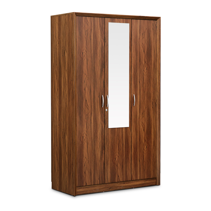 Stark Three Door Wardrobe With Mirror Walnut,3 Door Wardrobes
