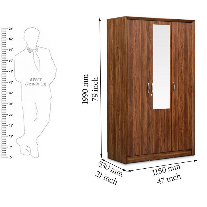 Stark Three Door Wardrobe With Mirror Walnut,3 Door Wardrobes