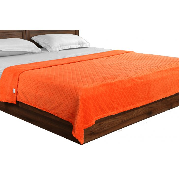 Fleece Blanket 160X220Diamond Orange,Quilts/Blankets