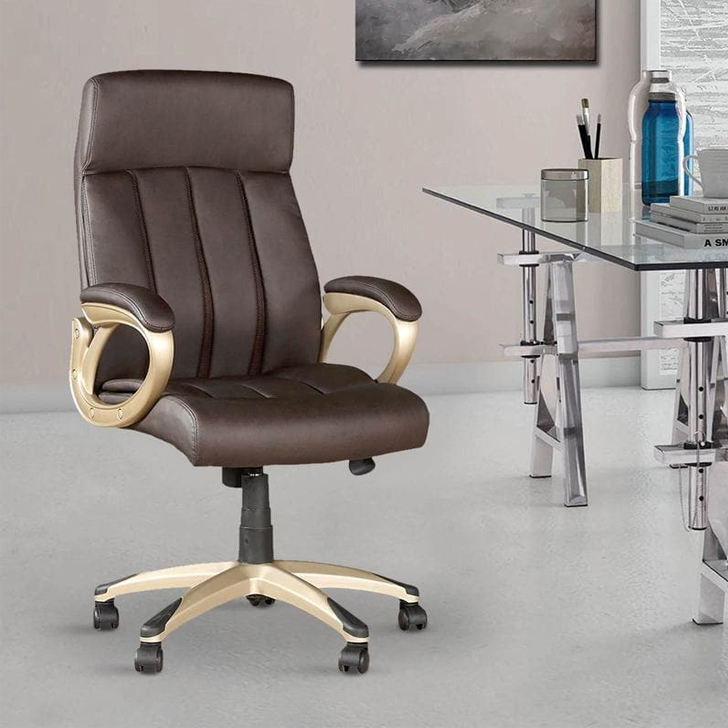 Henry Leatherette High Back Chair in Brown Colour,Office Chairs