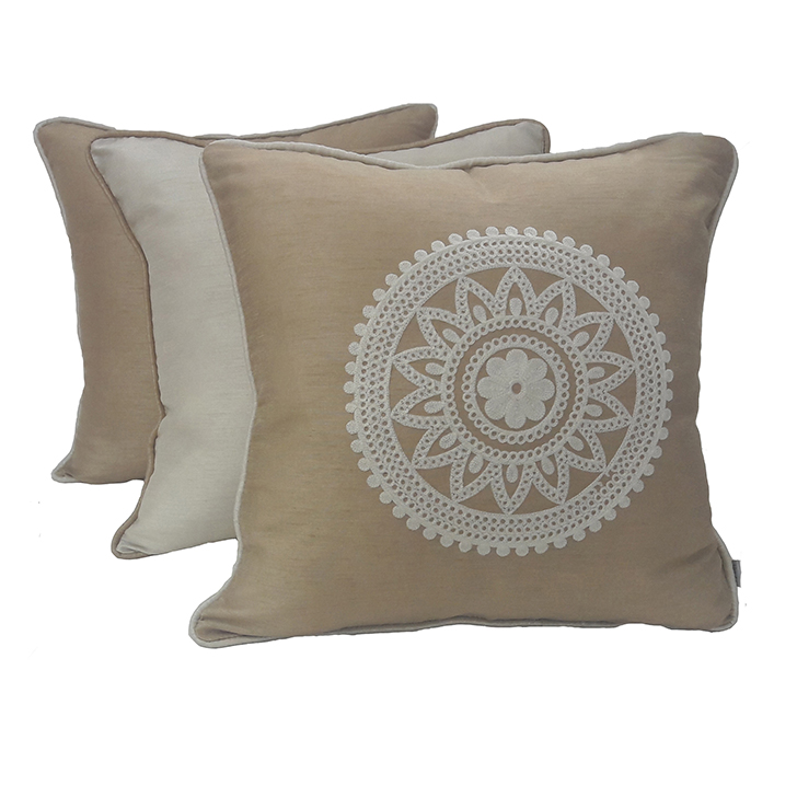 Living Essence Set Of Three Cushion Cover 16X16 Fiesta Beige,Covers & Inserts
