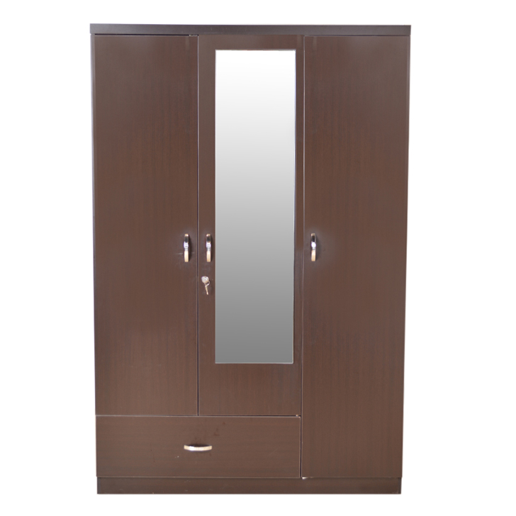 Marshal Three Door Wardrobe Wth Mirror Regato Walnut,3 Door Wardrobes