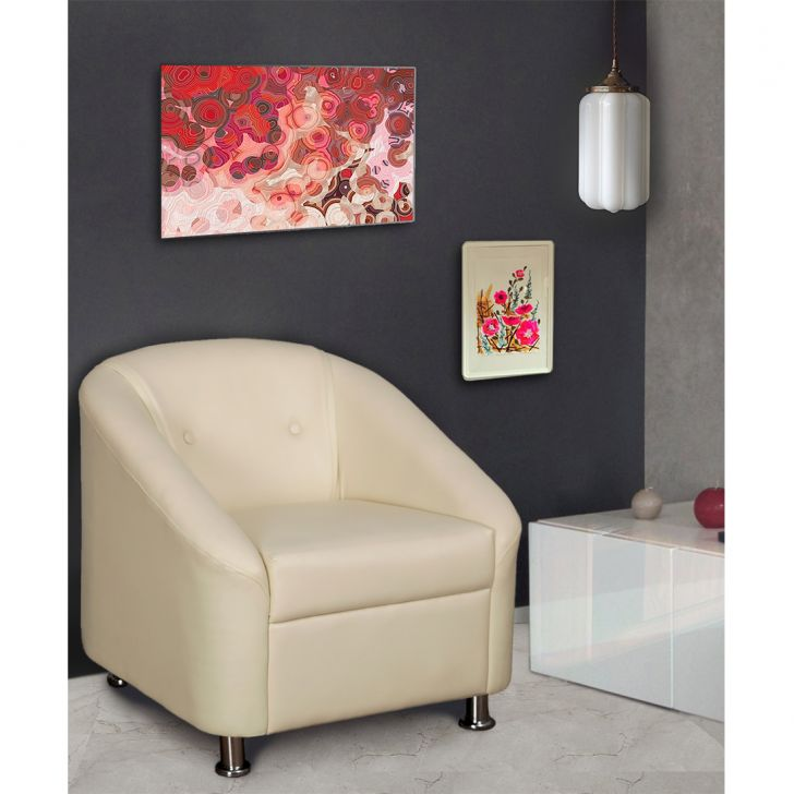 Belfast Leatherette One Seater Sofa Ivory,The Big Summer Sale