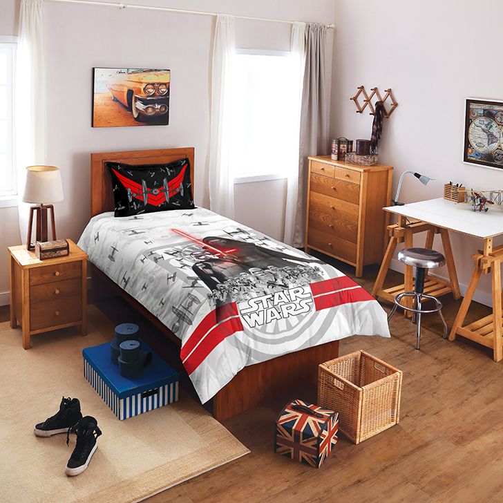 Spaces Star Wars Lucas Film Grey And White Cotton Single Bed Sheet Set,Single Bed Sheets