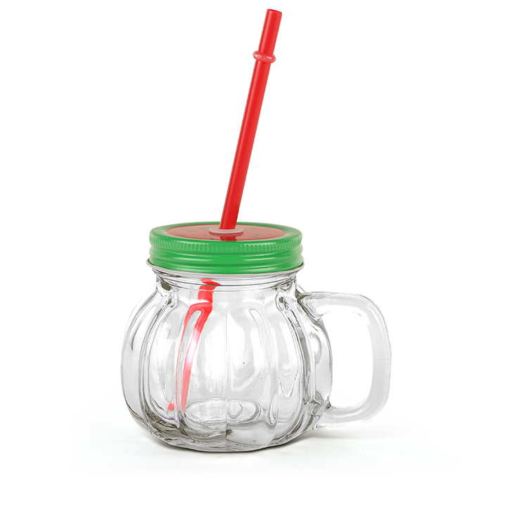 Living Essence Melon With Straw Watermelon Lid Drinking Jar 370 ml,Sippers