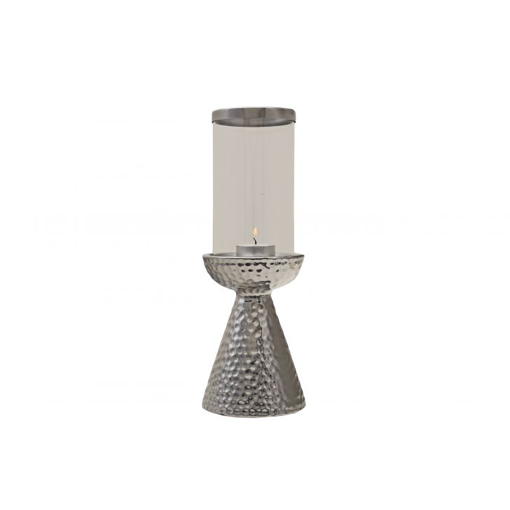 Sterling Candle Holder Hammered Conical Stand Large,Candle Holders
