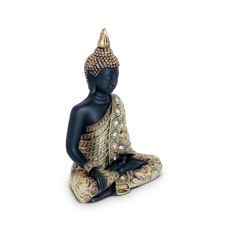 Hometown Fio Polyresin Sitting Buddha Figurine Gold And Black Large,Figurines