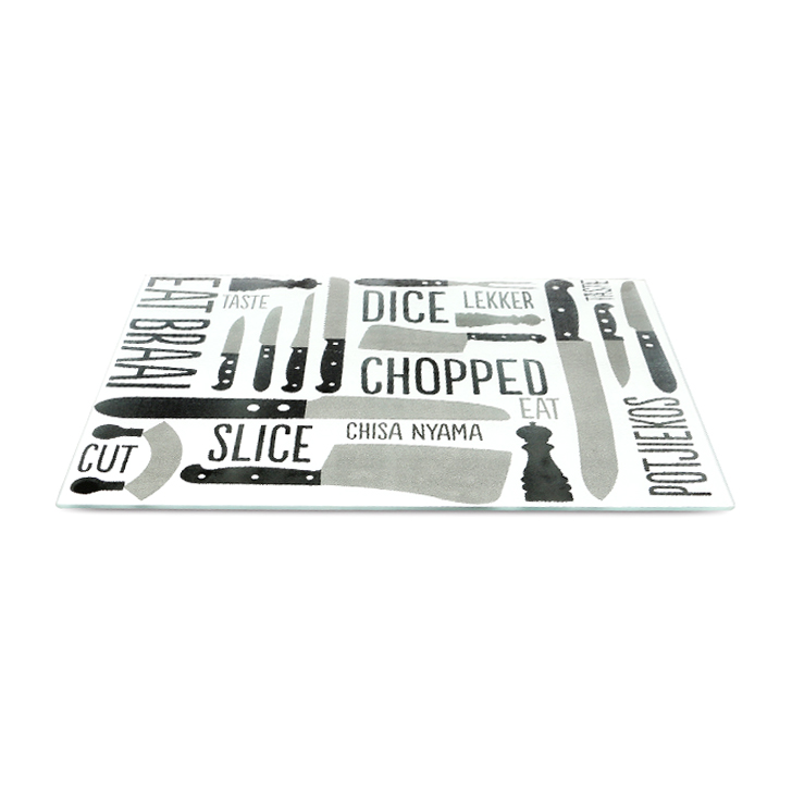 Living Essence Tinker Chop Glass Chopping Board Black And White,Table Knives