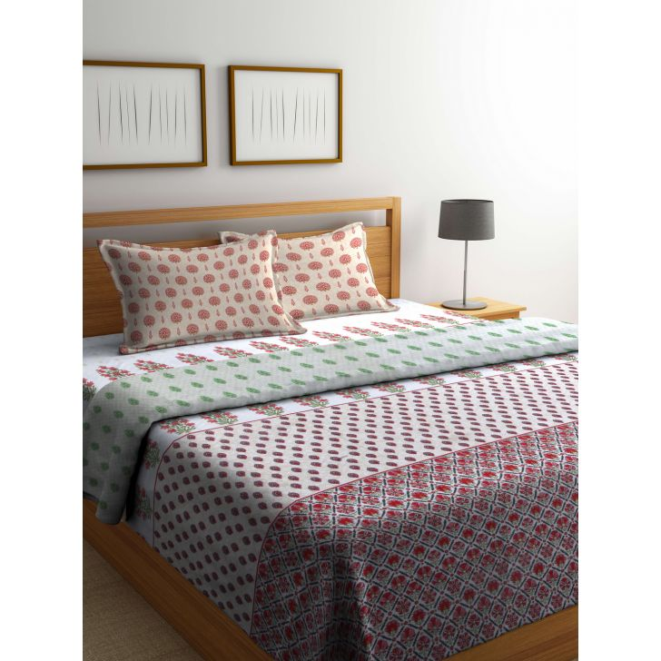 Portico Gulmohar Bed Cover Multicolour,Double Bed Sheets
