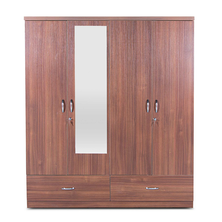 Ultima Four Door Wardrobe with Mirror in walnut Colour,The Big Summer Sale