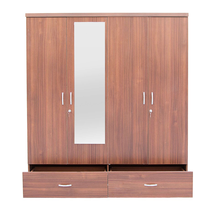 Ultima Four Door Wardrobe With Mirror Regato Walnut,Furniture