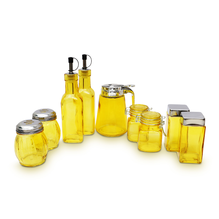 Living Essence Glass Condiment Set Yellow 9 Pcs,Containers