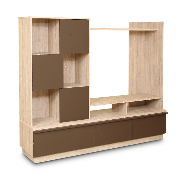 Clover Wall Entertainment Unit in Light Oak & Dark Brown Finish,Wall & Entertainment Units