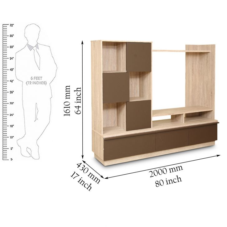 Clover Wall Unit Light Oak And Dark Brown,Wall & Entertainment Units