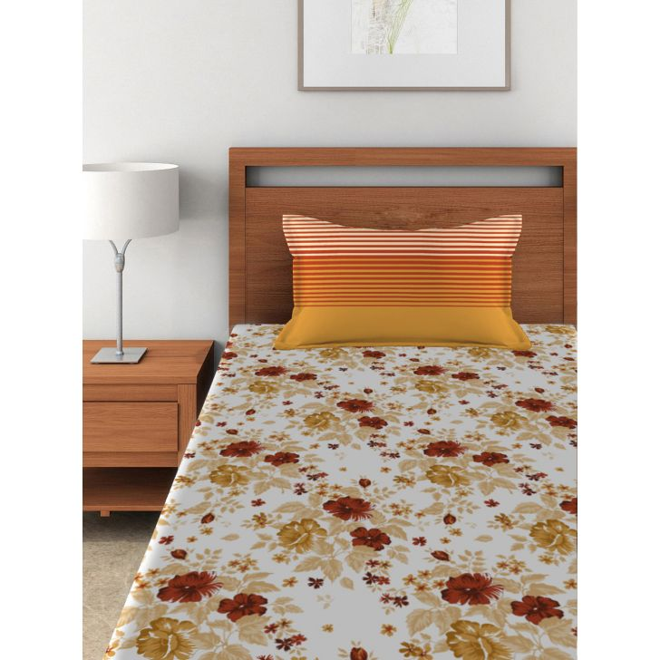 Single Bedsheet Tangy Orange Red,Single Bed Sheets