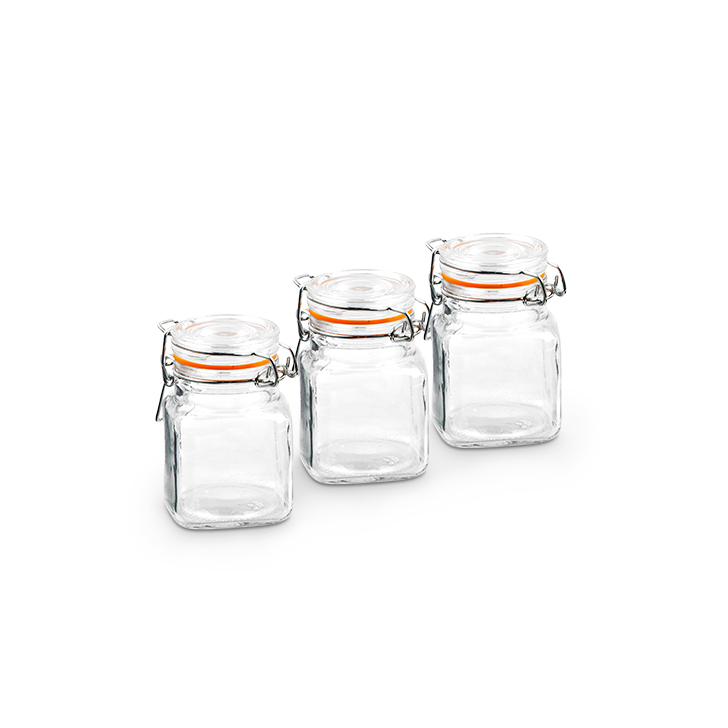 Living Essence ZES Air Tight Spice Jar Clear 3 Pcs,Containers