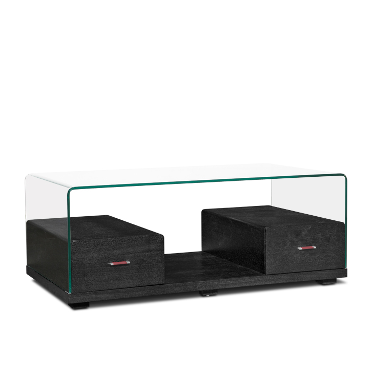 Rory Glass Top Center Table in Dark Brown Colour,Coffee Tables