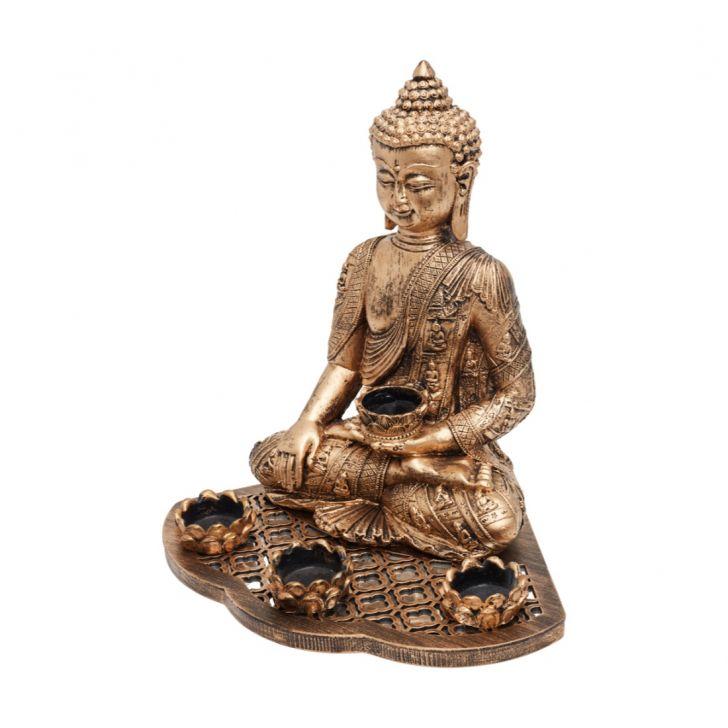 Grace Sitting Buddha With teal light,Tea Light Candles