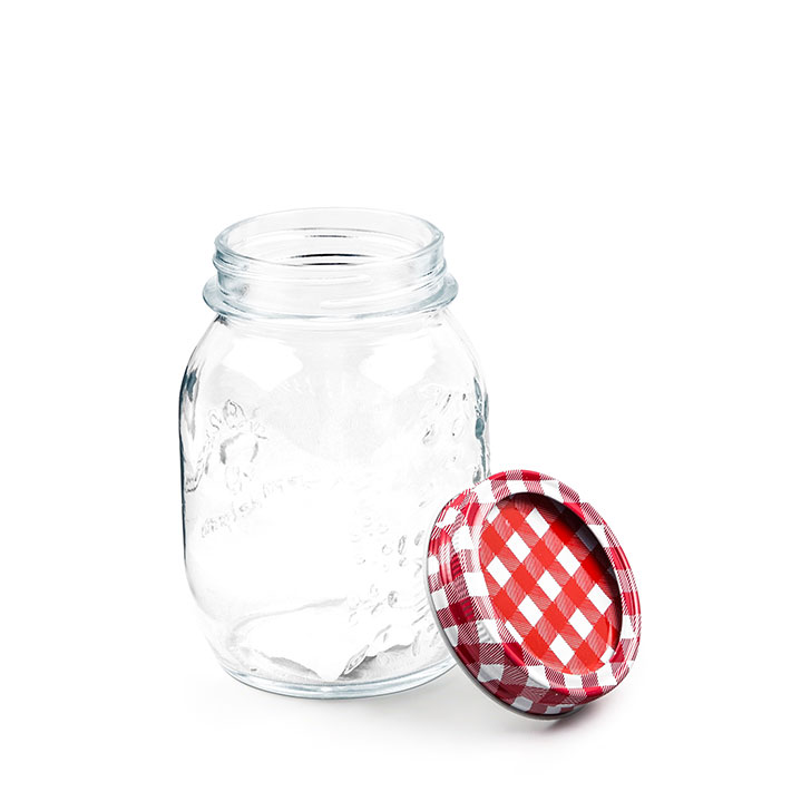 Living Essence ZES Mason Jar with Checkered Lid 500 ml,Mason Jars