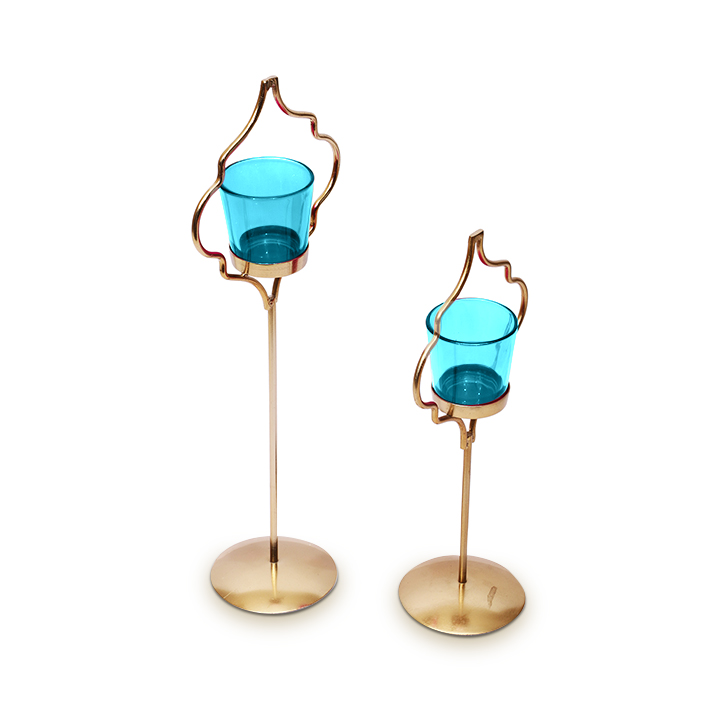 Hometown Corona Single Votive Candle Holder Blue And Gold,Candle Holders