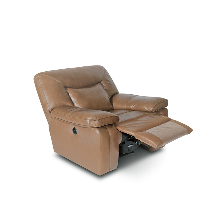 Indulge One Seater Half Leather Electric Recliner in Brown Colour,Recliners