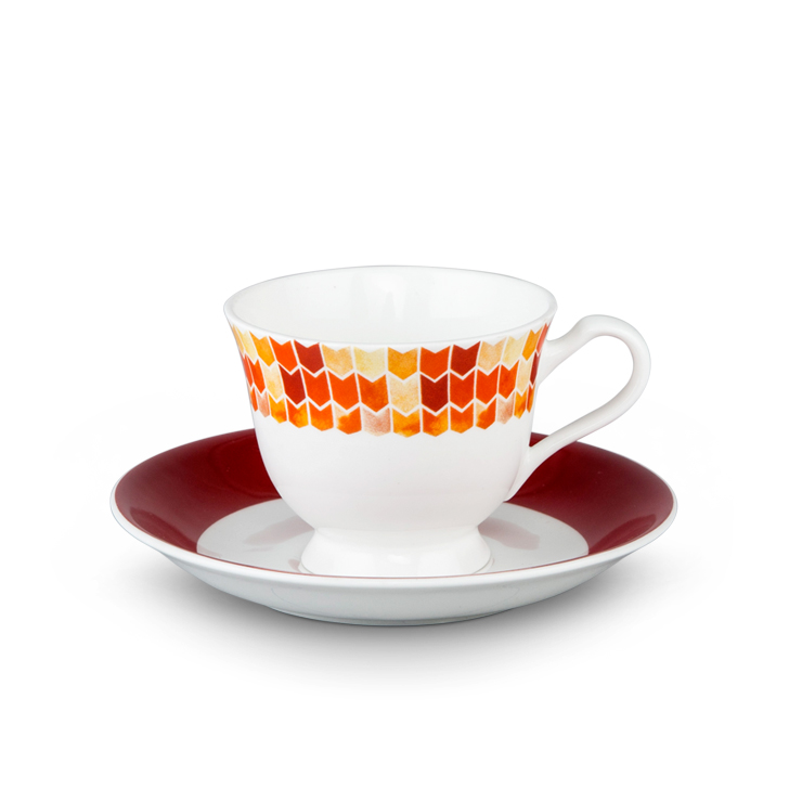 Living Essence Water Color Cup Saucer Red 12 Pcs,Coffee & Tea Sets