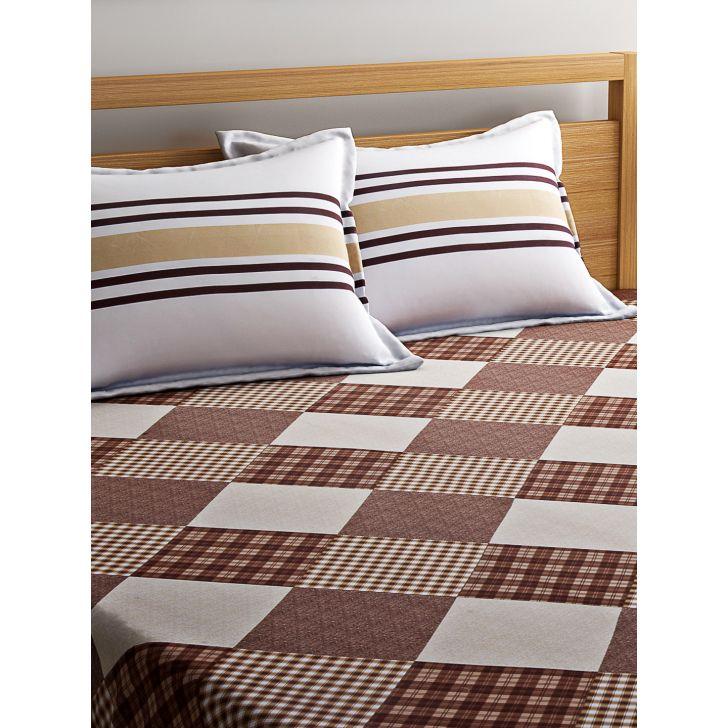 Portico Sparkle Bedsheet Multicolour Seasalt,Double Bed Sheets