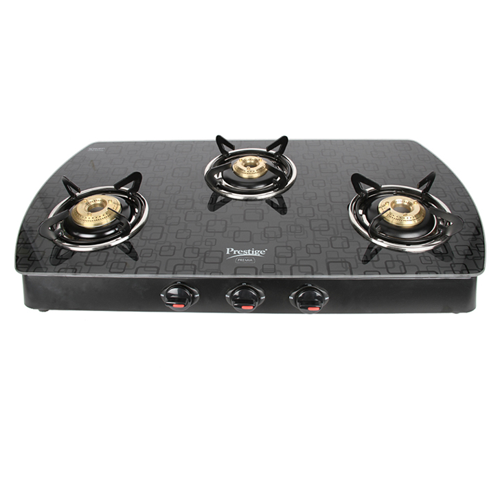 Prestige Designer 3 Burner Glass Top Gas Stove,Cookware