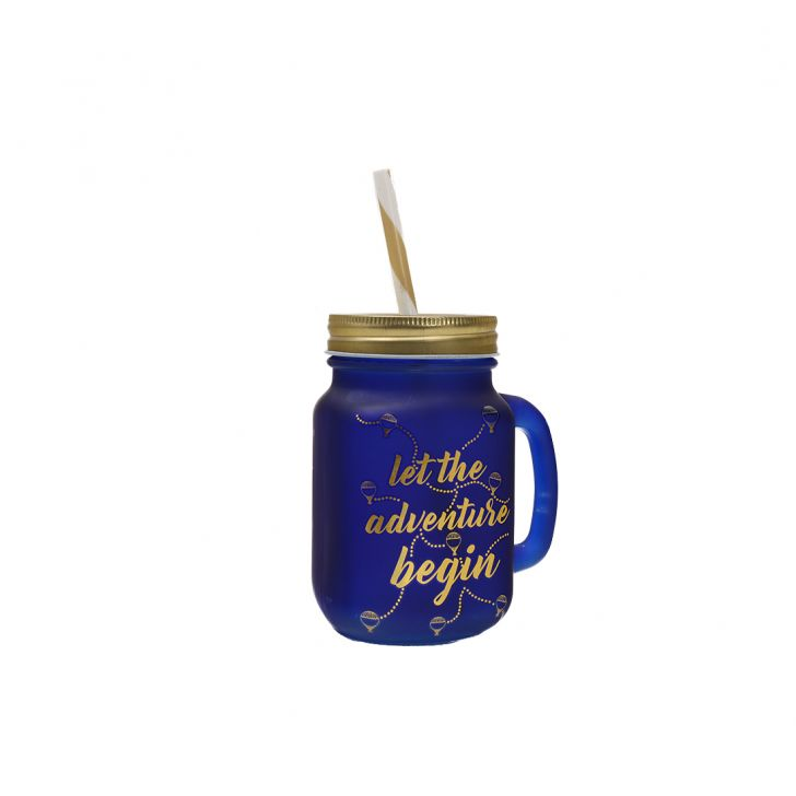Love To Travel Golden Ultra Marine Mason Jar,Mason Jars