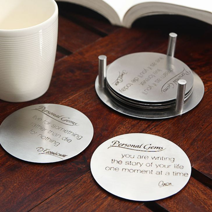 Hot Muggs Personal Gems Anti-slip Stainless Steel Message Coasters , 7 Pc,Coasters & Trivets