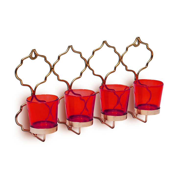 Hometown Corona Mild Steel And Glass 4 Votive Candle Holder Red,Candle Holders