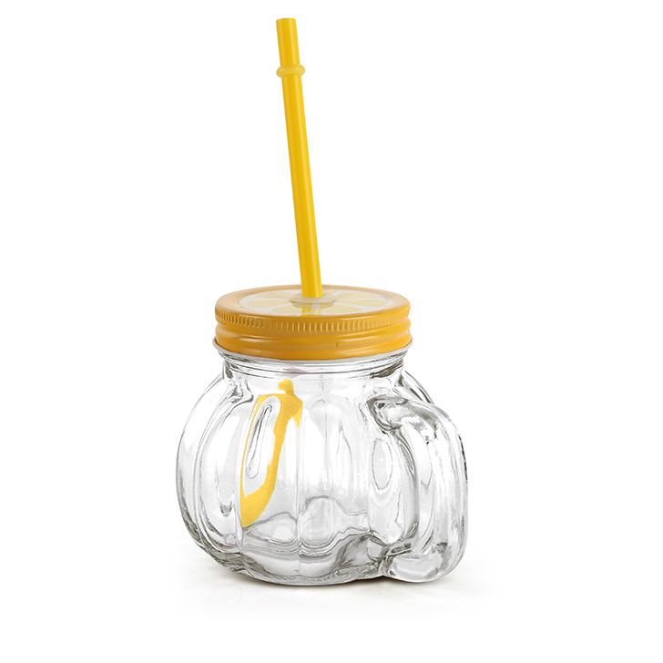 Living Essence Melon With Straw Lemon Lid Drinking Jar 370 ml,Sippers
