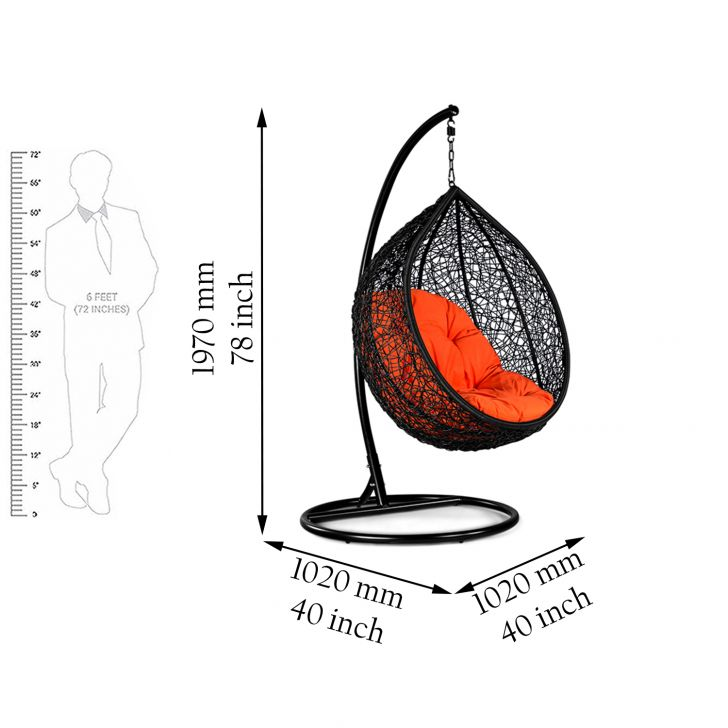 Begonia Black with Orange Cushion,Swings
