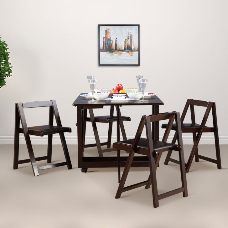 Compact Four Seater Foldable Dining Set in Wenge Finish,Festive Bonanza Offer