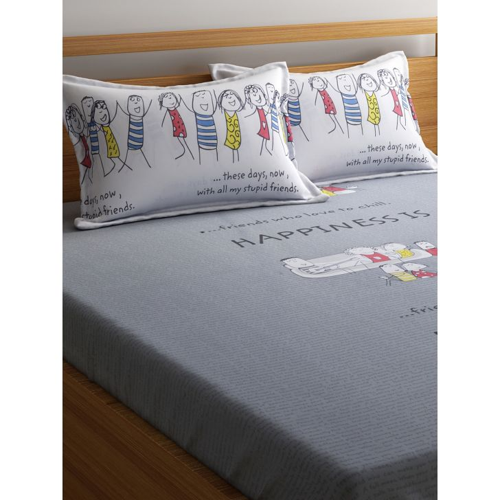 Portico Happiness Is Bedsheet Grey,Double Bed Sheets