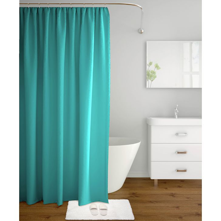 Tangerine Polyester Shower Curtain With Hooks Blue,Bath Linen