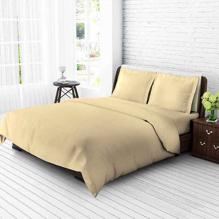 Tangerine Senso Naturals King Size Bed Sheet Set Light Beige,Double Bed Sheets