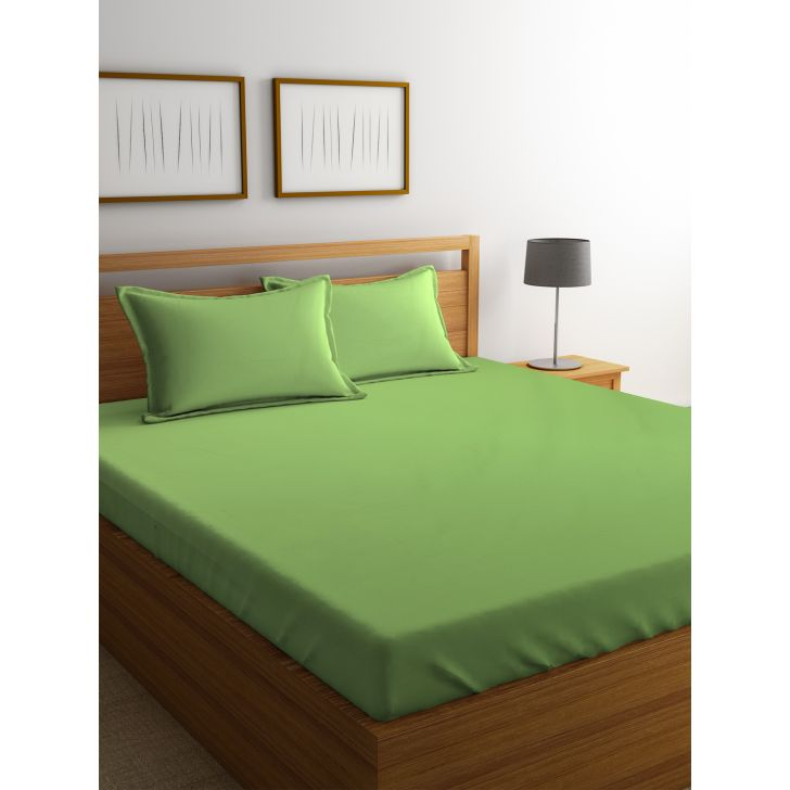 Portico Percale Bedsheet Moss,Double Bed Sheets