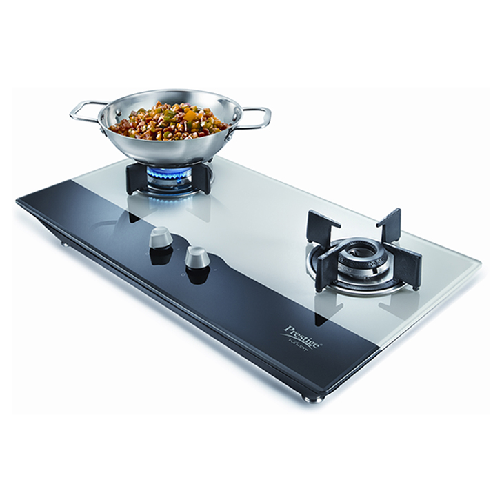 Prestige Hobtop 2 Burner Glass Top Gas Stove,Cookware