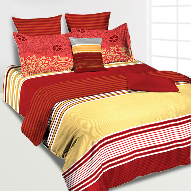 Tangerine Yellow And Maroon Single Duvet Cover,Duvet & Covers
