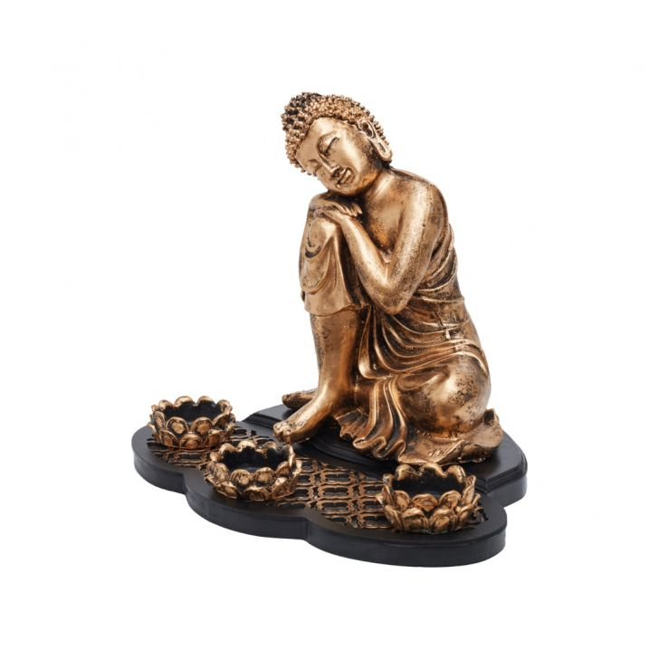 Grace Resting Buddha With teal light,Tea Light Candles