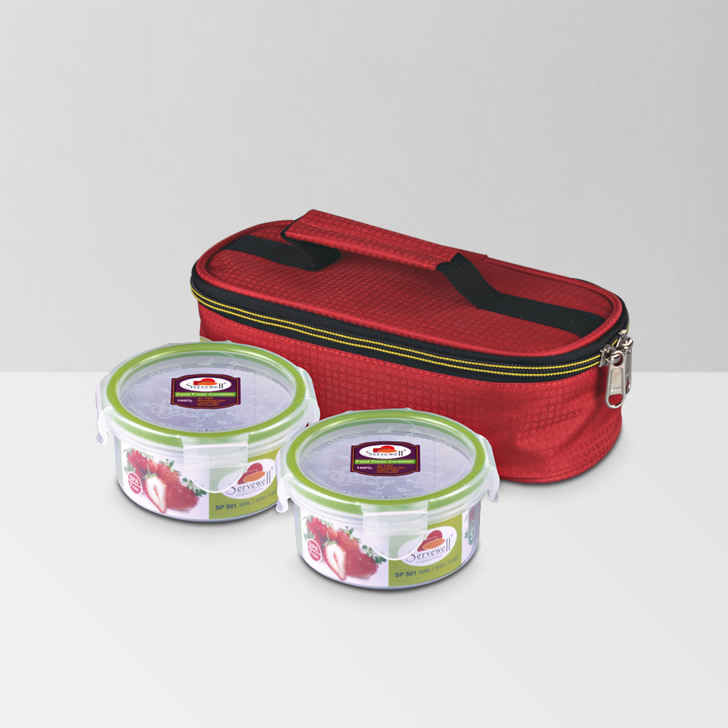 Servewell Elegant Lunch Bag With Container,Lock Storage