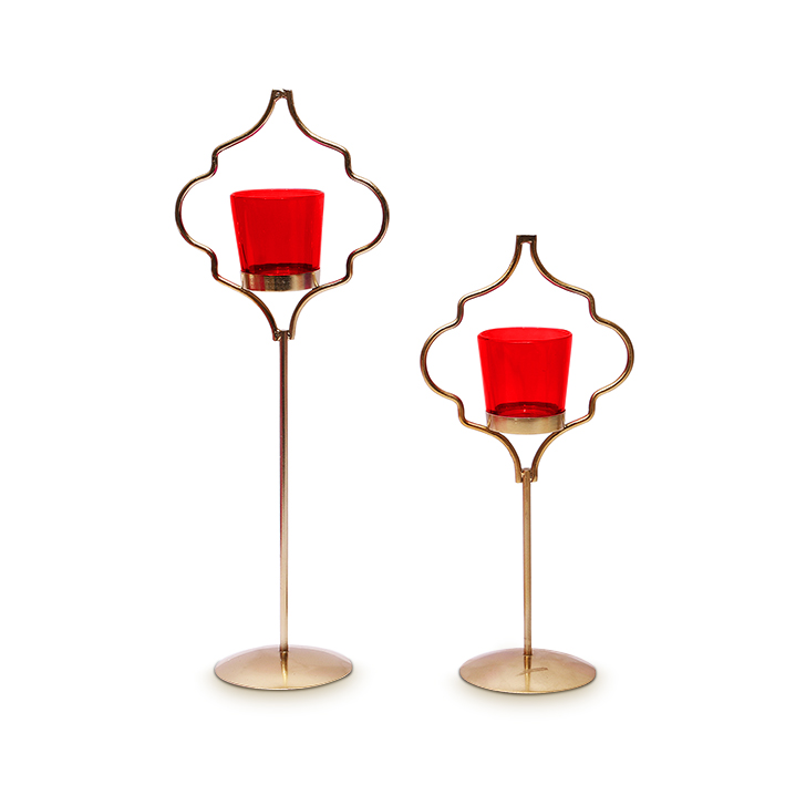 Hometown Corona Single Votive Candle Holder Red And Gold,Candle Holders