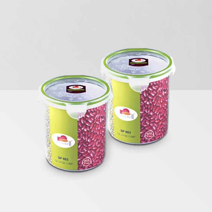 Servewell Round Food Fresh Container 1400 ml 2 Pcs,Lock Storage