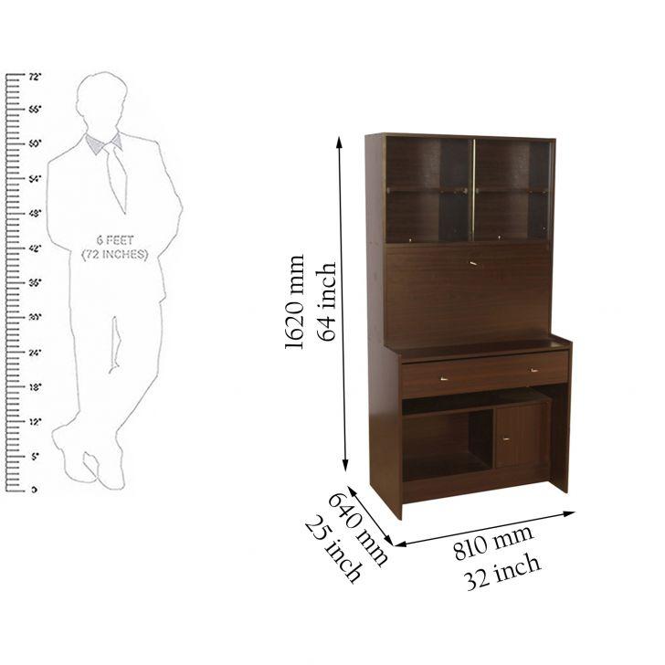 Rhombus Study & Laptop Table in Walnut Finish,Book Shelves
