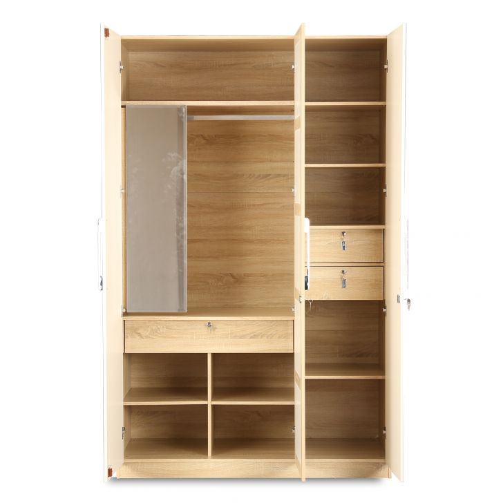 Geo Three Door Wardrobe in White & Natural Colour,All Wardrobes
